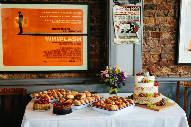 Dessert Table with Doughnuts & Cheese Tower
