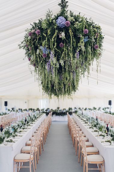 Hanging Floral Display | Marquee Reception | Miss Gen Photography