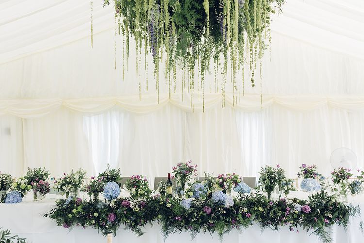 Hanging Floral Arrangements | Marquee Reception | Miss Gen Photography