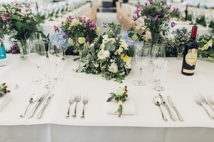 Top Table Wedding Flowers | Hanging Floral Display | Marquee Reception | Miss Gen Photography