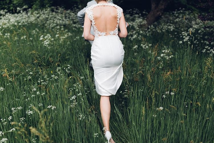 Bride in Backless Berta Bridal Gown | Miss Gen Photography