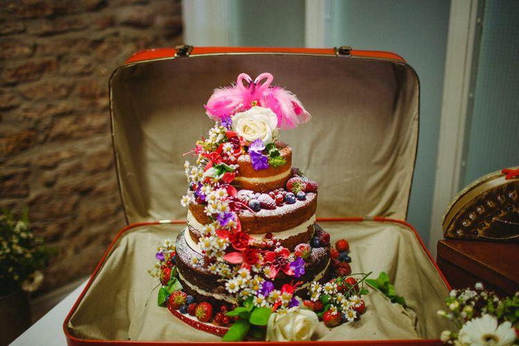 Naked Wedding Cake With Flamingo Cake Toppers