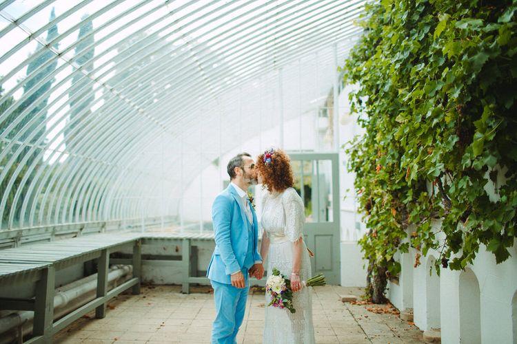 Groom In Bright Blue Bespoke Suit