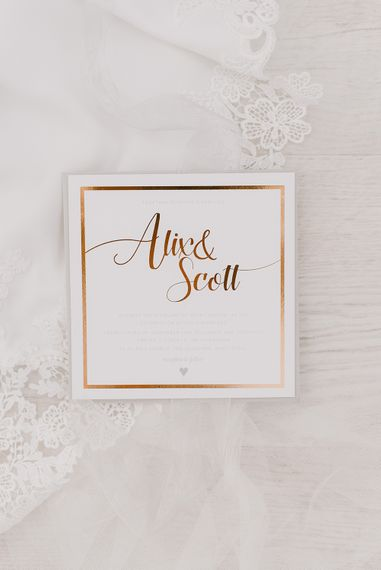 Copper Foil Wedding Stationery | Elegant Black Tie Wedding with White Flowers at The Cleveland Tontine, North Yorkshire | Georgina Harrison Photography