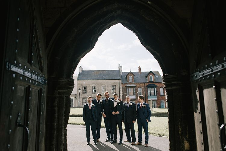 Groomsmen in Navy Suits | Elegant Black Tie Wedding with White Flowers at The Cleveland Tontine, North Yorkshire | Georgina Harrison Photography