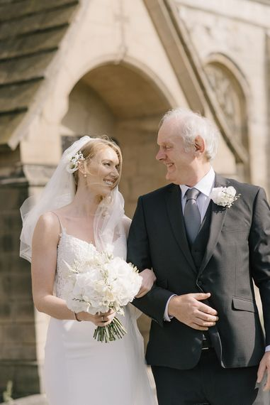 Bride in Enzoani Juri Bridal Gown | Father of the Bride | Elegant Black Tie Wedding with White Flowers at The Cleveland Tontine, North Yorkshire | Georgina Harrison Photography