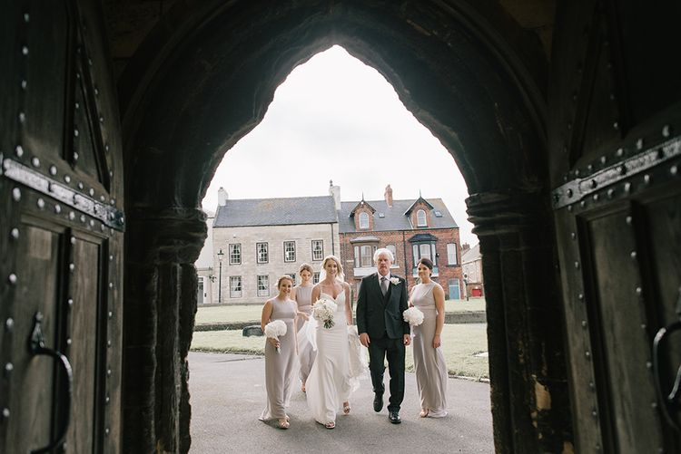 Bride in Enzoani Juri Bridal Gown | Elegant Black Tie Wedding with White Flowers at The Cleveland Tontine, North Yorkshire | Georgina Harrison Photography