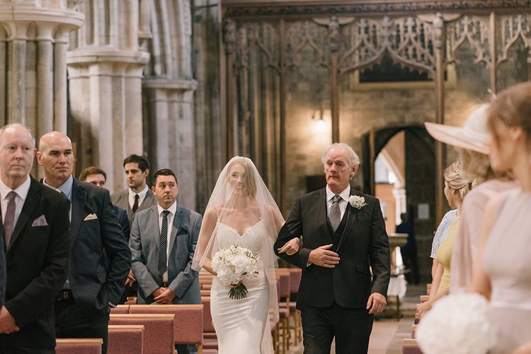 Church Wedding Ceremony | Bridal Entrance in Enzoani Juri Bridal Gown | Elegant Black Tie Wedding with White Flowers at The Cleveland Tontine, North Yorkshire | Georgina Harrison Photography
