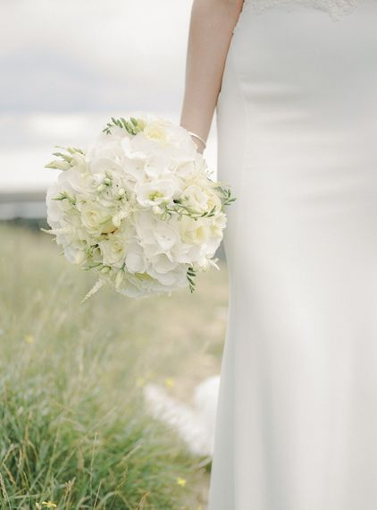 White on White Bridal Bouquet | Bride in Enzoani Juri Bridal Gown | Elegant Black Tie Wedding with White Flowers at The Cleveland Tontine, North Yorkshire | Georgina Harrison Photography