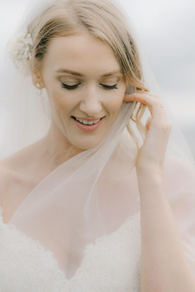 Beautiful Bride in Enzoani Juri Bridal Gown | Elegant Black Tie Wedding with White Flowers at The Cleveland Tontine, North Yorkshire | Georgina Harrison Photography