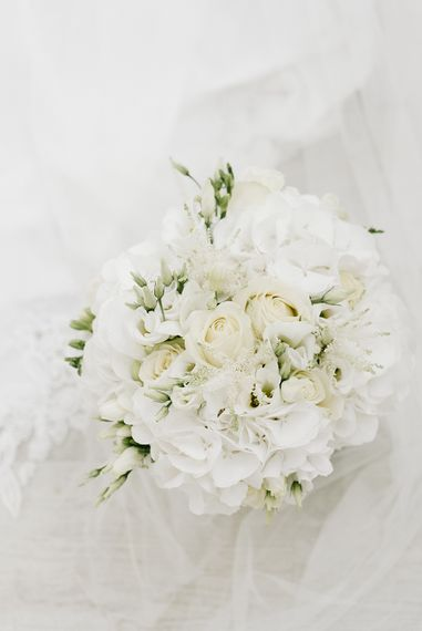 Pure White Hydrangea & Rose Bridal Bouquet | Elegant Black Tie Wedding with White Flowers at The Cleveland Tontine, North Yorkshire | Georgina Harrison Photography