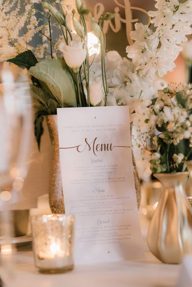 Copper Foil Table Menu Card | Elegant Black Tie Wedding with White Flowers at The Cleveland Tontine, North Yorkshire | Georgina Harrison Photography