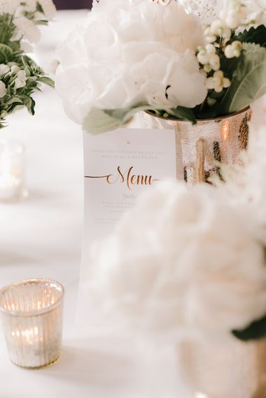 Copper Foil Menu Cards | Elegant Black Tie Wedding with White Flowers at The Cleveland Tontine, North Yorkshire | Georgina Harrison Photography