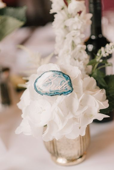 Geode Place Name | Elegant Black Tie Wedding with White Flowers at The Cleveland Tontine, North Yorkshire | Georgina Harrison Photography