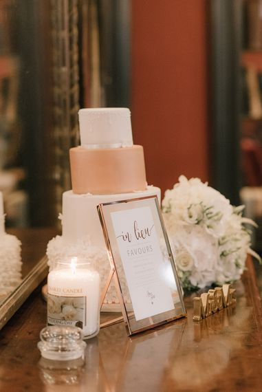 White Ice Wedding Cake with Copper Layer | Elegant Black Tie Wedding with White Flowers at The Cleveland Tontine, North Yorkshire | Georgina Harrison Photography