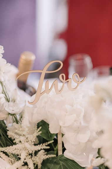 Wooden Lasercut Table Number | Elegant Black Tie Wedding with White Flowers at The Cleveland Tontine, North Yorkshire | Georgina Harrison Photography