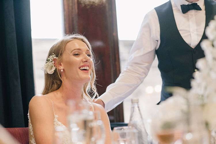 Speeches | Bride in Enzoani Juri Wedding Dress | Elegant Black Tie Wedding with White Flowers at The Cleveland Tontine, North Yorkshire | Georgina Harrison Photography