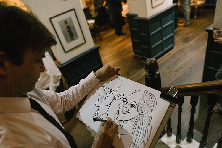 Caricaturist | Elegant Black Tie Wedding with White Flowers at The Cleveland Tontine, North Yorkshire | Georgina Harrison Photography