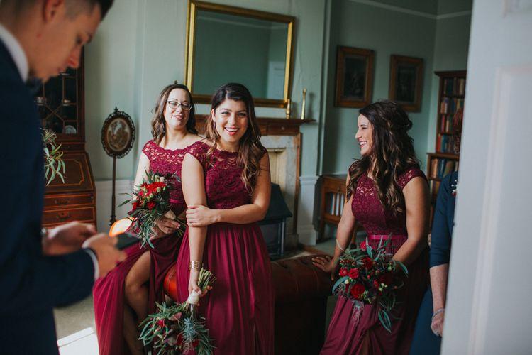 Bridesmaids In Merlot Coloured Dresses