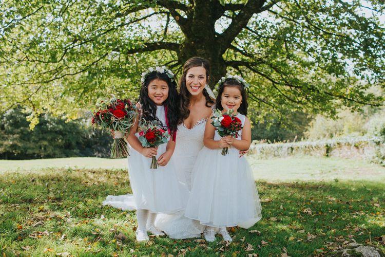 Adorable Flower Girls In White For Elegant Wedding