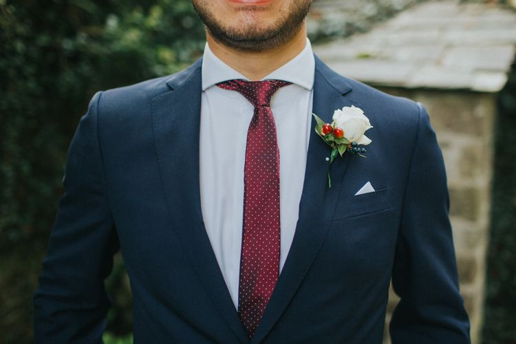 Groom In Navy With Red Tie
