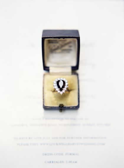 Vintage Teardrop Engagement Ring With Dark Stone // Image By Taylor And Porter