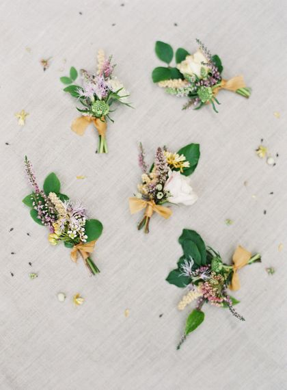 Elegant Pastel Buttonholes For Wedding // Image By Taylor And Porter