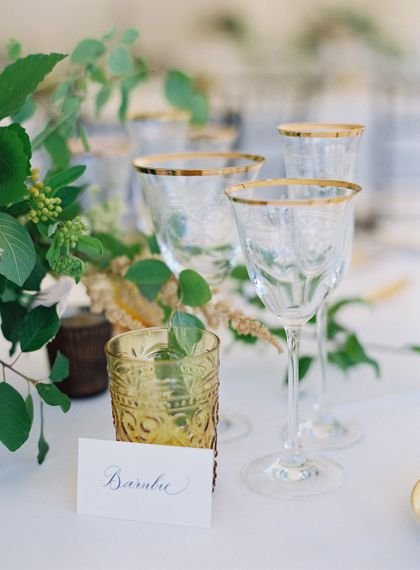 Gold Cutlery With Pink Florals For Wedding // Image By Taylor And Porter