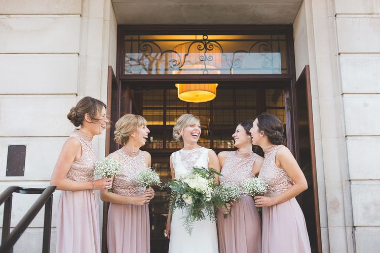 Charlie Brear Bride For A 1920s Inspired Wedding At Town Hall Hotel With Bridesmaids In Jenny Packham