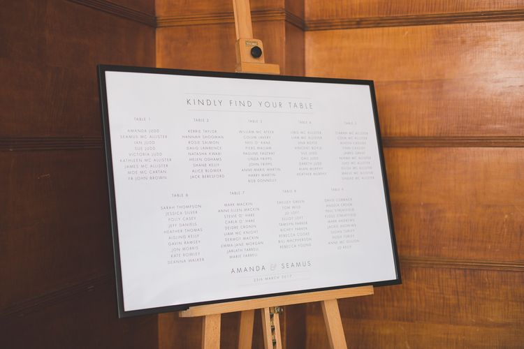 Simple Typography Printed Table Plan For Wedding
