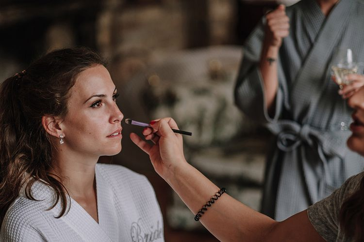 Bridal Makeup | Wedding Morning Bridal Preparations | White and Silver English Country Garden At Home Marquee Wedding | Jason Mark Harris Photography