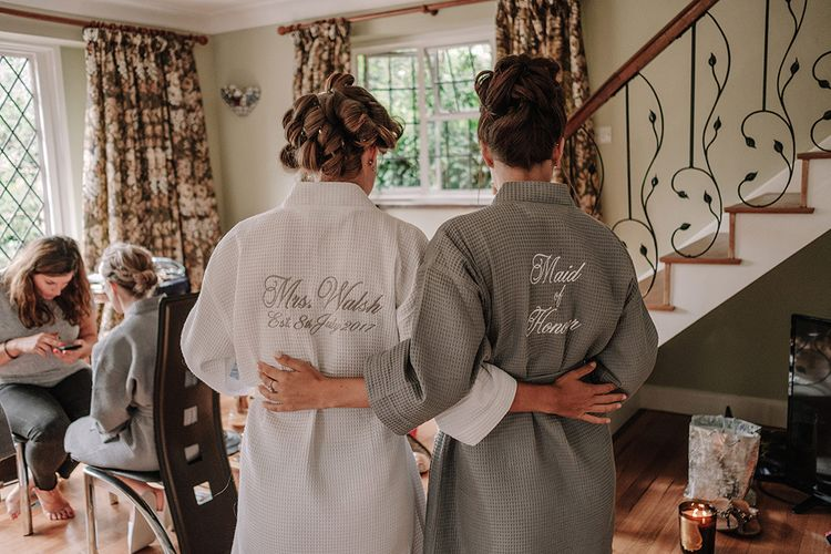 Personalised Getting Ready Robes | Wedding Morning Bridal Preparations | White and Silver English Country Garden At Home Marquee Wedding | Jason Mark Harris Photography