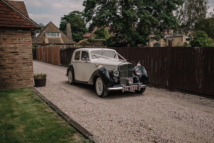 Bentley Wedding Car | White and Silver English Country Garden At Home Marquee Wedding | Jason Mark Harris Photography