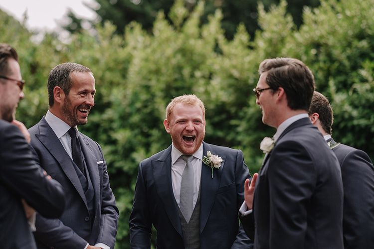 Groom in Thom Sweeney Suit | White and Silver English Country Garden At Home Marquee Wedding | Jason Mark Harris Photography