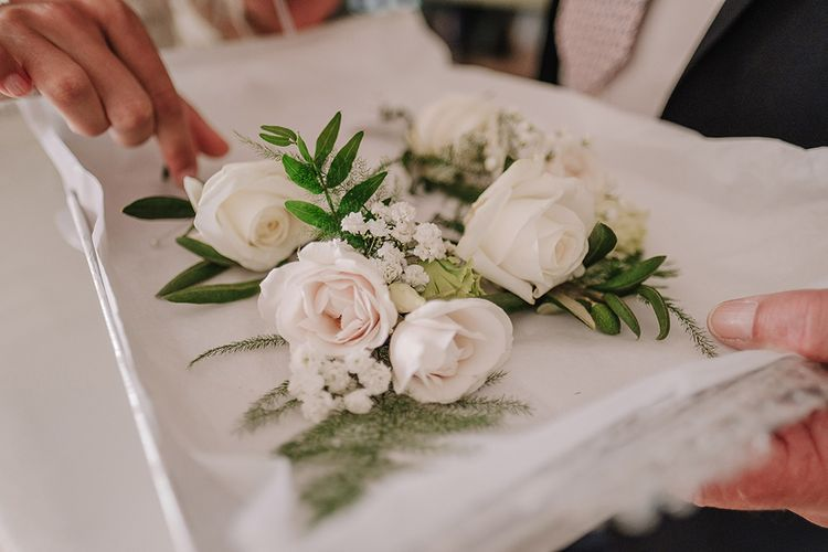 White Rose Buttonholes | White and Silver English Country Garden At Home Marquee Wedding | Jason Mark Harris Photography