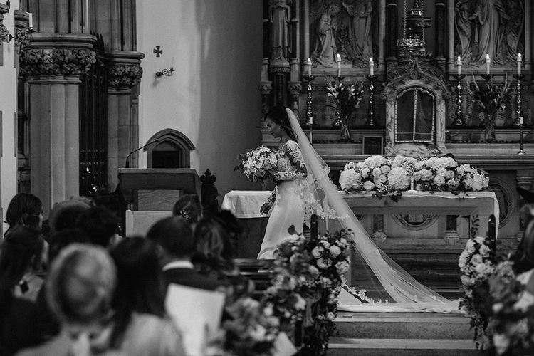 Church Wedding Ceremony | Bride in Lace Pronovias Bridal Gown | White and Silver English Country Garden At Home Marquee Wedding | Jason Mark Harris Photography