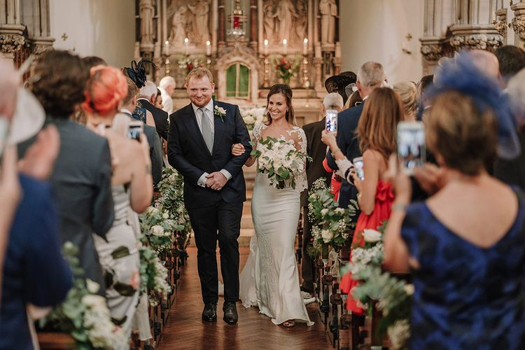Church Wedding Ceremony | Bride in Lace Pronovias Bridal Gown | Groom in Thom Sweeney Suit | White and Silver English Country Garden At Home Marquee Wedding | Jason Mark Harris Photography
