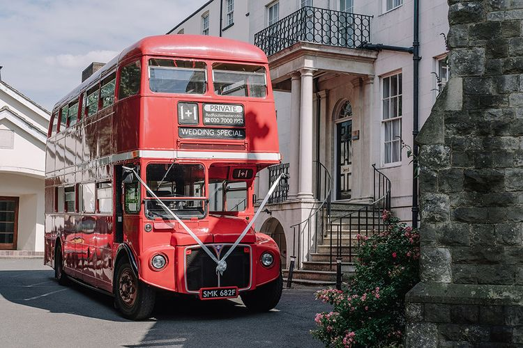 Red Routemaster Bus | White and Silver English Country Garden At Home Marquee Wedding | Jason Mark Harris Photography