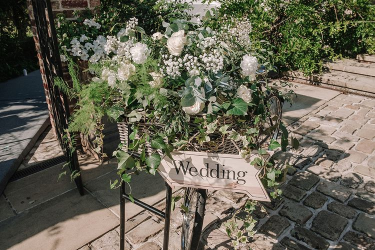 Bicycle Wedding Decor | White and Silver English Country Garden At Home Marquee Wedding | Jason Mark Harris Photography