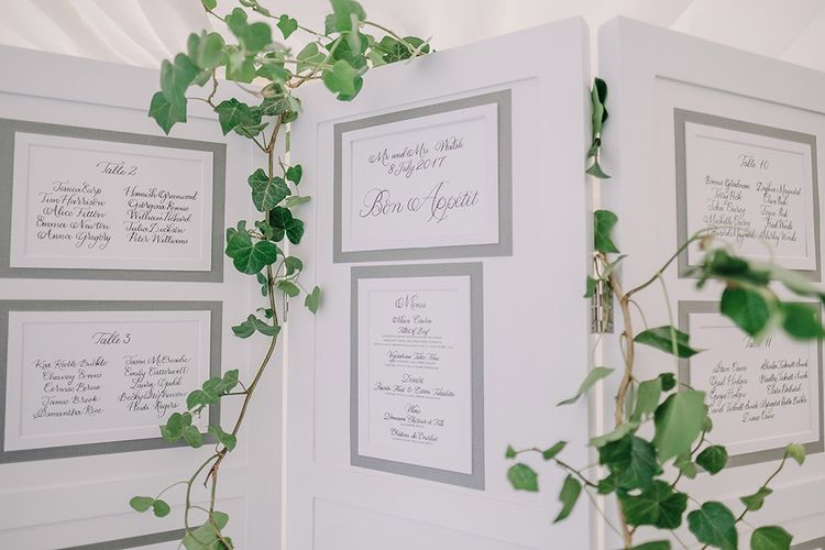 Table Plan | White and Silver English Country Garden At Home Marquee Wedding | Jason Mark Harris Photography