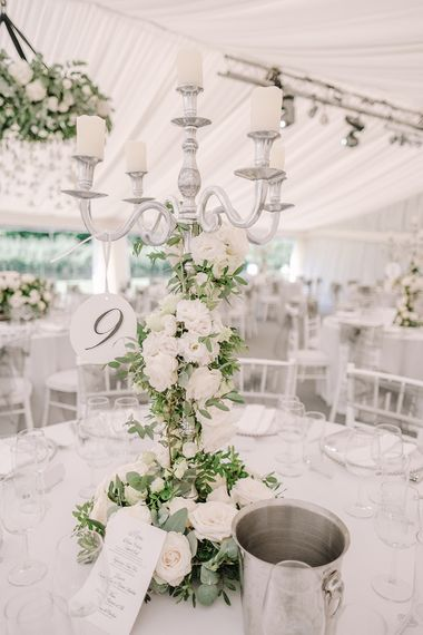 Candelabra Table Centrepiece | White and Silver English Country Garden At Home Marquee Wedding | Jason Mark Harris Photography