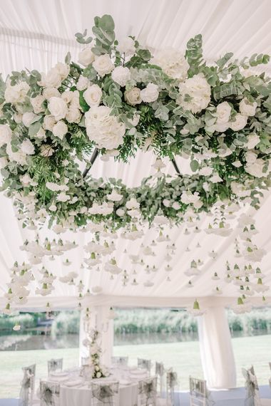Hanging Greenery & White Flower Chandelier | White and Silver English Country Garden At Home Marquee Wedding | Jason Mark Harris Photography