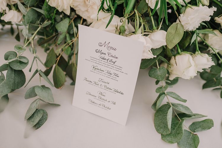 Menu | White and Silver English Country Garden At Home Marquee Wedding | Jason Mark Harris Photography