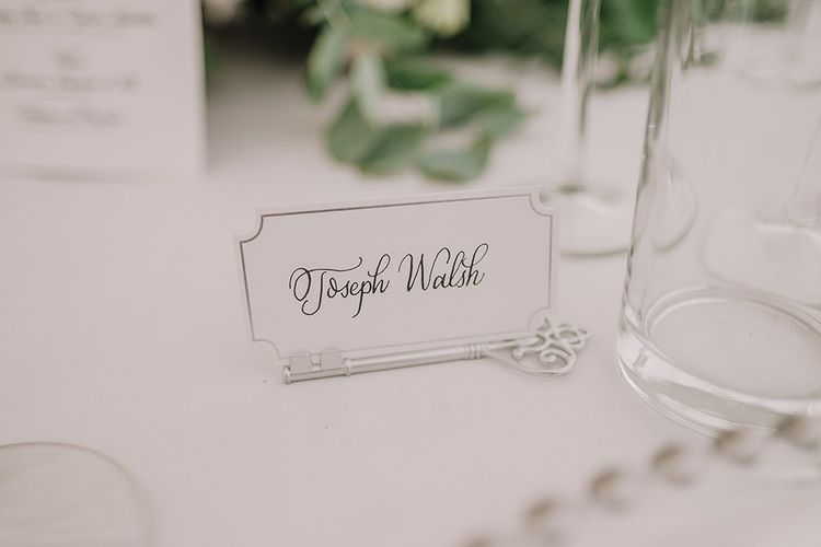 Place Name Card | White and Silver English Country Garden At Home Marquee Wedding | Jason Mark Harris Photography