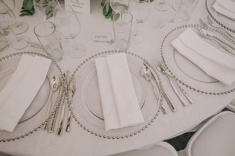 Glass & Silver Platter Place Setting | White and Silver English Country Garden At Home Marquee Wedding | Jason Mark Harris Photography