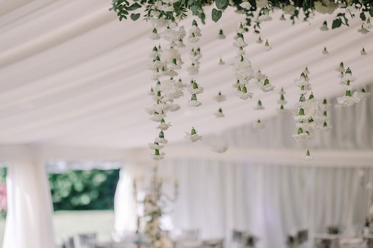 Hanging Carnation Flower Heads | White and Silver English Country Garden At Home Marquee Wedding | Jason Mark Harris Photography