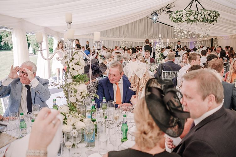 Wedding Reception | White and Silver English Country Garden At Home Marquee Wedding | Jason Mark Harris Photography