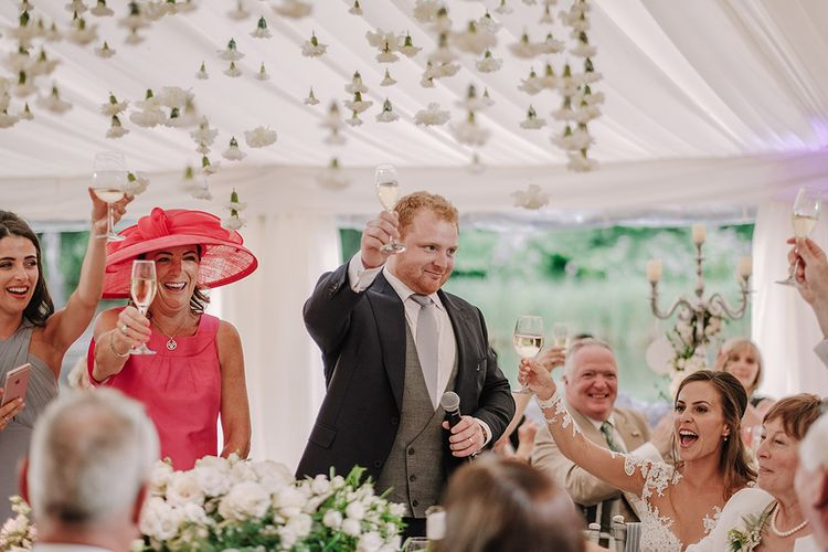Speeches | Groom in Thom Sweeney Suit | White and Silver English Country Garden At Home Marquee Wedding | Jason Mark Harris Photography