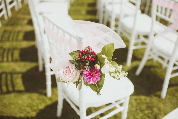 Floral Chair Backs For Outdoor Wedding Ceremony