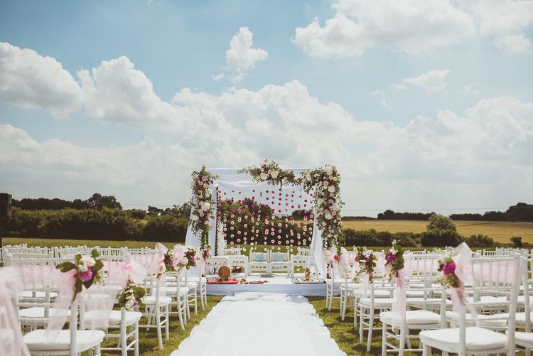 Elegant Indian Wedding At Poundon House With Stunning Hanging Floral Ceremony Arch